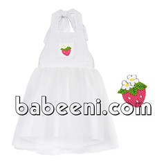 Strawberry smocked white tutu dress (babeeniclothing) Tags: girl children fashion clothing smocked tutu dress party strawberry castle white nice beautiful adorable beauty