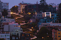 San Francisco Blue Hour (Andrew Louie Photography) Tags: blue hour san francisco overcast light trails hillside hill neighborhood russianhill coittower lombard street tele telephoto tourist