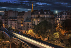 Paris, Blv Garibaldi (Luc Mercelis) Tags: paris night nightshot nightscene eiffel toureiffel france metro moon sonyslt77v minolltaprimelens20mm minoltaprimelens50mm minoltaprimelens24mm minoltaprimelens red yellow blue bluehour street streetphotography streetlights streetlight station cityscape city citytrip cityoflight