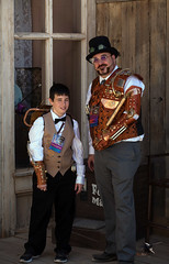 Steampunk Father and Son (thePhotographerRaVen) Tags: steampunk tucson oldtucson arizona wwwc wwwc5 wildwest fantasy goggles gadgets leather guns weapons son child photosbyraven