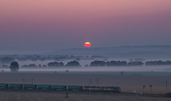 Cargo train (zbyhru) Tags: cargo train fog sunrise morava mist