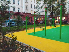 Green Color (ph4mt) Tags: builtstructure buildingexterior architecture city residentialstructure residentialbuilding tree street residentialdistrict citylife outdoors lawn footpath greencolor vibrantcolor nopeople