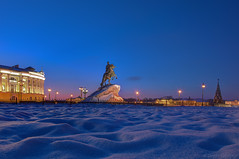 (dgaripov) Tags: christmas city winter sunset snow tree monument bronze square evening frost russia illumination first nobody peter lantern saintpetersburg embankment senate horseman                       universitetskaya  201301
