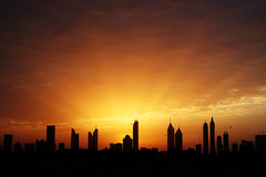 #850E4843 - Rays of the morning light (crimsonbelt) Tags: morning light beach nature silhouette sunrise dubai cityscape rays jumera