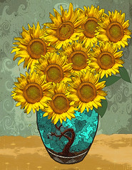 Van Gogh's Sunflowers (Cat Girl 007) Tags: stilllife textures sunflower vangogh beingthere explored pareeerica rubyblossom mmmchallenge