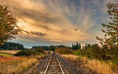 The Glance Behind (Jason (Audrey's Dad)) Tags: railroad autumn sunset oregon train evening vanishingpoint twilight nikon october cloudy tracks rails helvetia 2012 d800