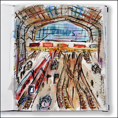 Hamburg Hauptbahnhof (rafaelmucha) Tags: pen ink watercolor notebook sketch hamburg zug sketchbook hauptbahnhof aquarell