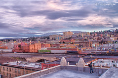 The Washington Cracker Company (SimplyAmy74) Tags: longexposure sky rooftop skyline train washington spokane downtown skycolors roofrats historicspokane lazyshutter crackercompany