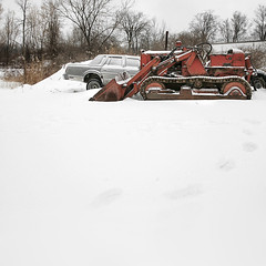 Make-Shift Snow Plow (red_dotdesign) Tags: winter snow cars abandoned rust naturallight