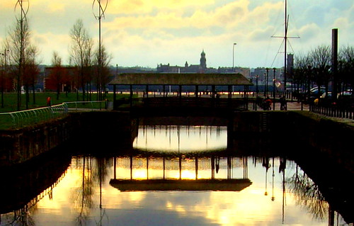 Golden Liverpool reflection