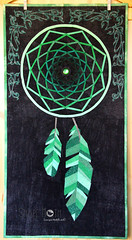 Dreamcatcher mini quilt finished (4) (ShapeMoth) Tags: black green quilt feathers patchwork emerald pp dreamcatcher paperpieced paperpiecing miniquilt foundationpieced shapemoth