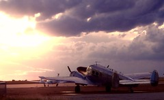 Awaits (Chains of Pace) Tags: sunset storm oklahoma clouds plane airport aircraft guymon