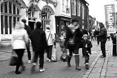 2013-01-12 RVG_0383b Healing (Ralph on and off) Tags: street blackandwhite woman children kent child unitedkingdom streetphotography canterbury pedestrians healing slowshutterspeed movementandmotion nikond300 ralphvandergeest ralphvandergeestfotografie