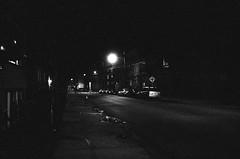 Summit Avenue in Jersey City, NJ (aaronvandorn) Tags: blackandwhite streetlight jerseycity nightscene summitavenue rokkor waynestreet