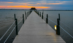 Sunset with Fishing Dock and Pier on the Bay side in Melbourne Beach Florida (mbell1975) Tags: sunset beach water river evening bay coast dock unitedstates florida dusk melbourne deck fl melbournebeach fla