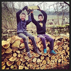 "My old neighbours Damien and Baptiste show off after some fine wood stacking. • <a style=""font-size:0.8em;"" href=""http://www.flickr.com/photos/30386142@N06/8583641368/"" target=""_blank"">View on Flickr</a>"