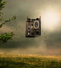 Float (batabidd) Tags: sun house tree field birds photoshop arbol casa artistic digitalart creative textures digitalpainting pajaros campo textured batabidd solconceptual