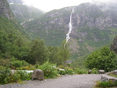on road to glacier (VERUSHKA4) Tags: road travel summer cloud mountain snow tree green nature water norway fog stone grey waterfall europe day country august glacier fjord scandinavia verdure sogn northcountry fylke briksdalen anon