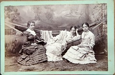 Young women lounge on a hammock circa 1895 (Kingkongphoto & www.celebrity-photos.com) Tags: old woman man history beautiful lady century vintage toy interesting child dress time cabinet antique 1800s victorian odd era tintype passing lovely daguerreotype quaint 100years balt victorianera cabinetphoto