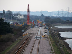 New Loughor railway bridge 1st April 2013 (1) (Gareth Lovering) Tags: bridge water swansea wales night river landscape group railway trains olympus llanelli user omd lovering networkrail loughor em5 oowug