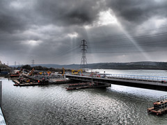 New Loughor railway bridge 1st April 2013 (22) (Gareth Lovering) Tags: bridge water swansea wales night river landscape group railway trains olympus llanelli user omd lovering networkrail loughor em5 oowug