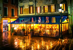 venice3 (Mike Filippoff) Tags: venice people italy reflection rain night restaurant glow eating steps lamps exquisite puddles downpour