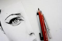 Minimal Jolie (Bella Harris Art & Photography) Tags: portrait art pencil drawing angelinajolie minimalsim bellaharris