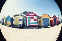 Brighton Beach (Bening Putri Wardani) Tags: holiday beach brighton australia melbourne fisheye boxes bathing