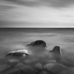 Rock trio (- David Olsson -) Tags: longexposure blackandwhite bw lake 3 seascape nature wet water monochrome clouds square landscape mono three nikon rocks sweden outdoor stones smooth le april trio grayscale fx squarecrop vnern d800 hammar vrmland 1635 ndfilter blackglass 1635mm 2013 flickroid takene davidolsson hammarsydspets nd500 lightcraftworkshop 1635vr
