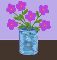 Pink Flowers in Blue Vase (Digital Pastel Day 3) (randubnick) Tags: flowers stilllife art digitalart workinprogress vase pinkflowers bluevase digitalpastel painter12