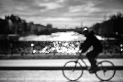 Sunday morning in Paris (Jack from Paris) Tags: street bw cloud blur seine 35mm de lens prime la nikon angle artistic noiretblanc bokeh wide perspective route creation ciel pont monochrom capture nuage vlo homme cycliste f40 nx2 ligthroom larchevch zeissdistagon235mmzf d800e jpr3438d800ebw