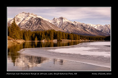 Moonrise over Fairholme Range at Johnson Lake, Banff National Park, Alberta (kgogrady) Tags: park wood autumn trees moon mountain lake snow canada mountains west color colour reflection tree fall ice rock clouds landscape rockies frozen wooden nikon skies afternoon mt g johnson rocky noone peak sunny ab nopeople canadian mount national moonrise alberta western banff rockymountains peaks nikkor fx afs banffnationalpark parkscanada woodfence girouard fairholme 2011 peechee johnsonlake d700 mountgirouard fairholmerange mountpeechee mtpeechee nikonafs2470mmf28ged mtinglismalde mountinglismalde inglismalde mtgirouard