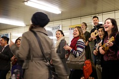 Bloor Subway Station - 2 (cookedphotos) Tags: music toronto smile station canon subway happy women ukulele ttc sing cheer yonge bloor flashmob 5dmarkii projectukulelegangsterism