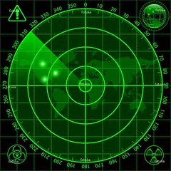 Radar screen (yodebih) Tags: world black green silhouette danger digital warning circle army design flying globe war kill pattern technology cross graphic symbol map background object military air picture radiation icon screen system safety monitor accidents equipment vision weapon target violence shooting sight visual protection vector biohazard radar searching exterminate aiming blip detect warningsymbol