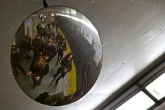Waiting for the Spadina Subway (cookedphotos) Tags: music toronto reflection station canon subway happy mirror ukulele ttc security sing cheer spadina curved flashmob 5dmarkii projectukulelegangsterism