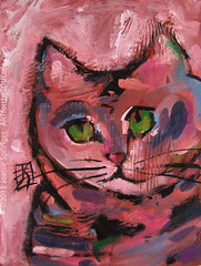 Pink Kitty (Joanie Springer) Tags: ink expressive gouache loose opaquewatercolor joaniespringer artforthesoulofit