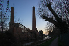 At the end of the day (Brian Negus) Tags: chimney england tree industry canal spring factory unitedkingdom dusk leicester towpath factorychimney blindphotographers