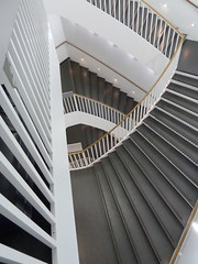 Chicago, Museum of Contemporary Art, Main Staircase (in Explore, 4/18/13 #19) (lalobamfw (thanks for 600K+ views)) Tags: white chicago abstract architecture stairs gray stairway staircase museumofcontemporaryart wbez chicagoist supershot explorechicago bestcapturesaoi blinkagain