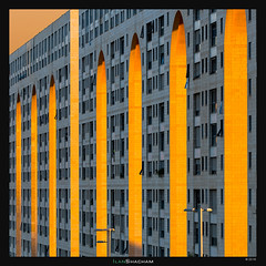 Modiin Menora (Ilan Shacham) Tags: architecture abstract shapes form pattern texture geometry repetition light sunset building arch arc yellow orange city urban fineart fineartphotography square modiin israel window