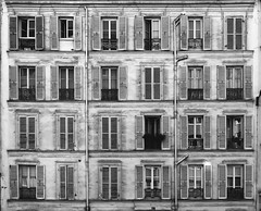 37 rue Daviel (Carlos ZGZ) Tags: 2d ccby carloszgz paris 75013 achromatic correctedperspective architecture faade volets windowshutters windows ventanas fentres apartmentbuilding wallpaper symmetry geometry city street outdoor building bw blackandwhite grayscale monochrome black white edificio batiment arquitectura france cmstoolsphotoring fondodepantalla postal postcard cartepostale freeculturalworks openlicense creativecommons freepictures rue calle photoshop vertical line distorsion correction retouch remix collage photomontage manipulation photomanipulation adaptation transformation simetria symetrie geometria geometrie negro noir blanco blanc francia europe europa