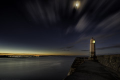 The beginning (MarkWaidson) Tags: porthcawl stars moon lighthouse night sea wales clouds le