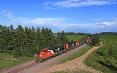 U745 northbound (GLC 392) Tags: cn canadian national railway railroad train emd sd402 ge es44dc gevo 5367 2233 u745 all rail ore michigan mi ki k i sawyer afb air force base little lake gwinn pine tree blue sky cloud clouds highway 94 hwy bridge