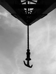 Hook (Ren-s) Tags: blackandwhite noiretblanc city ville sky ciel metal metallic structure belgique belgium anvers antwerp hook crochet grue crane construction port harbour europe