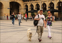 Walking The Dog (Mabacam) Tags: 2016 basquecountry donostia sansebastin people square plaza dog plazadelaconstitucin