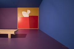 Purple_Blue (mimo b. rokket) Tags: art kunst interiordesign colors bank raum space colorism geometrie geometry linien lines flchen