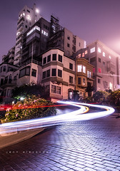 Lombard after hours. (onlyajenncanlove) Tags: lombard street longexposure long explore exposure cars light lightpainting painting cityscape city scape sanfrancisco san francisco vibrant nikond800 d 800 d800 headlight headlights head lights purple tripod