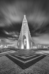 Hallgrimskirkja Church (Ffotograffiaeth Dylan Arnold Photography) Tags: hallgrmskirkja church reykjavik iceland religious building longexposure wideangle mono blackandwhite clouds sky night nocturnal