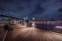 In the evening (karinavera) Tags: travel nikond5300 dumbo night brooklyn urban deck evening newyork manhattan longexposure people city cityscape