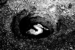 The Mystery (landbergmary) Tags: marylandberg blackandwhitephotography conceptualphotography storytelling selfportrait photojournalism mystery deep deephole holeintheground hiding hidingplace alone darkness darknightofthesoul