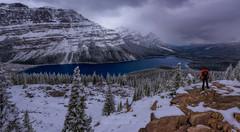 Watching Peyto (Javier de la Torre Garca) Tags: canada canadianrockies peyto lake clouds cloudy nublado nubes nieve snow
